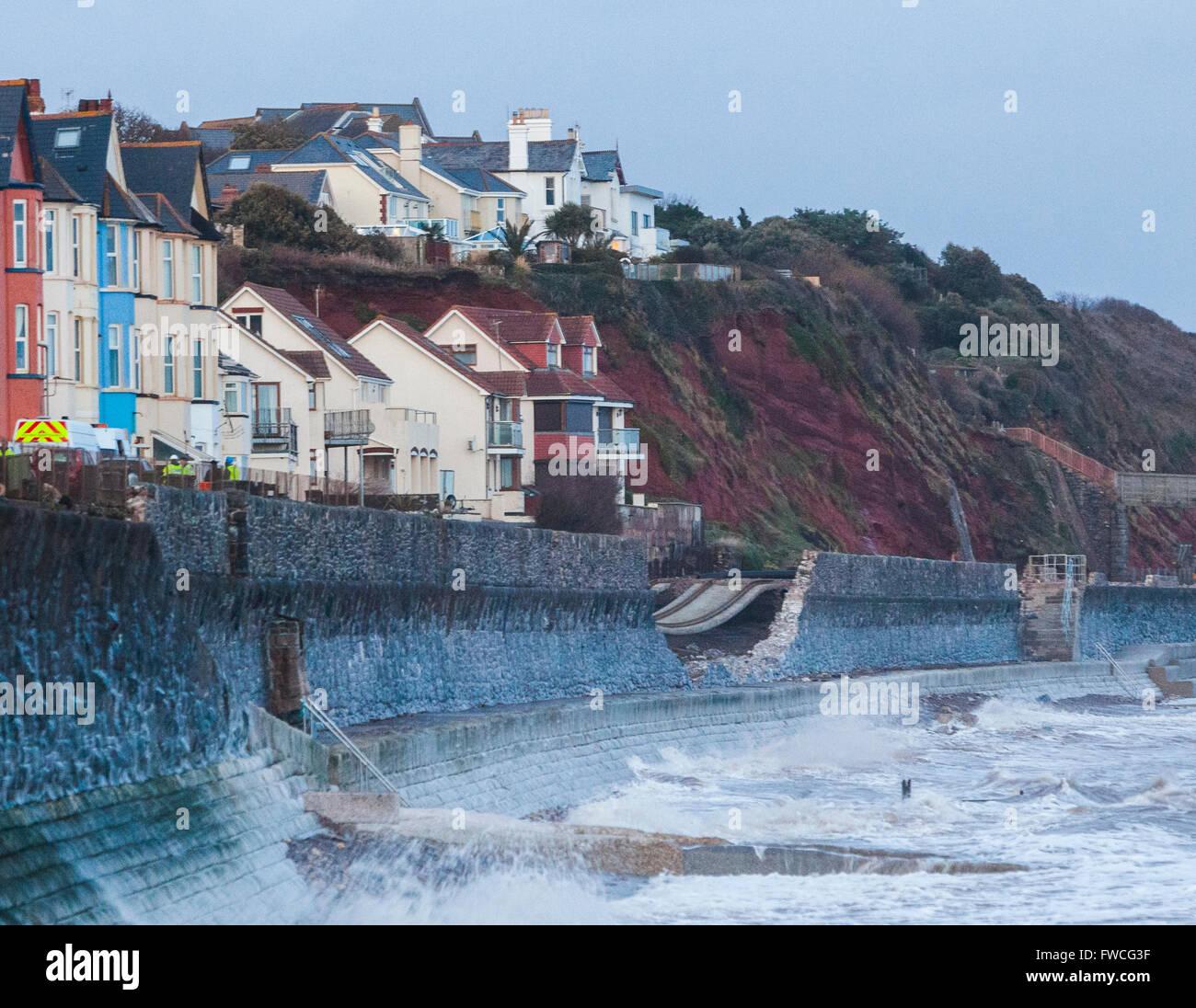 05/02/13  Railway line damage due to heavy seas and storms at Dawlish, Devon, England. - Stock Image