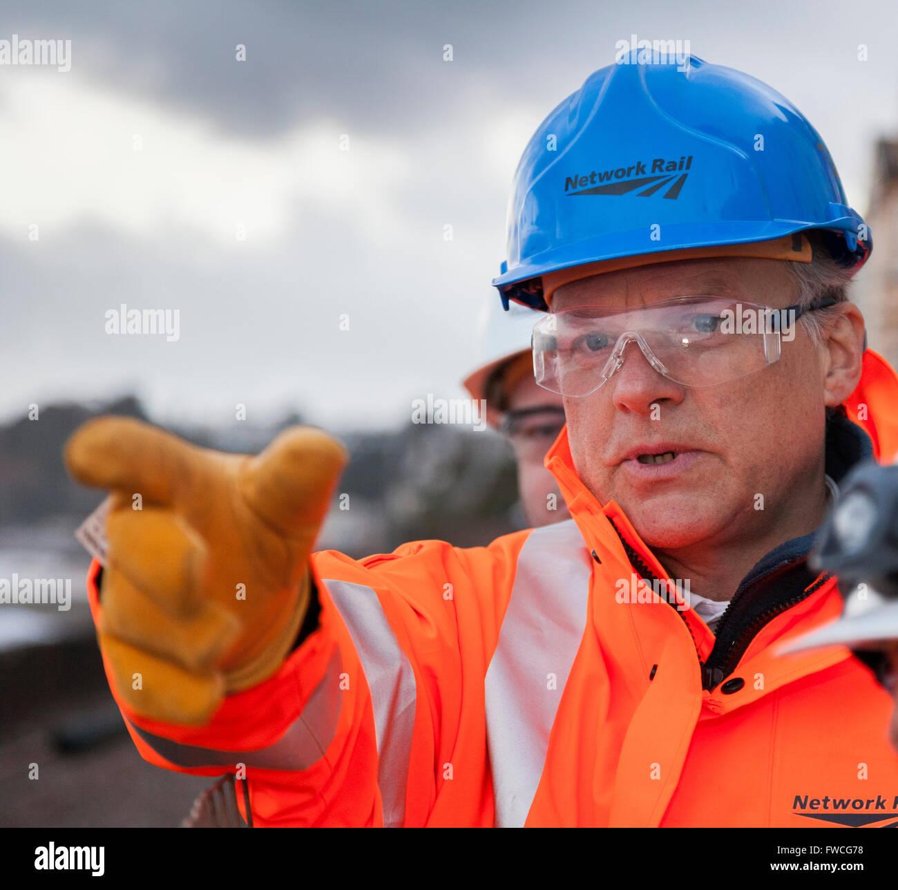 05/02/13 Network Rail Chief Executive Mark Carne -  Dawlish Railway Station - inspecting damage - Stock Image