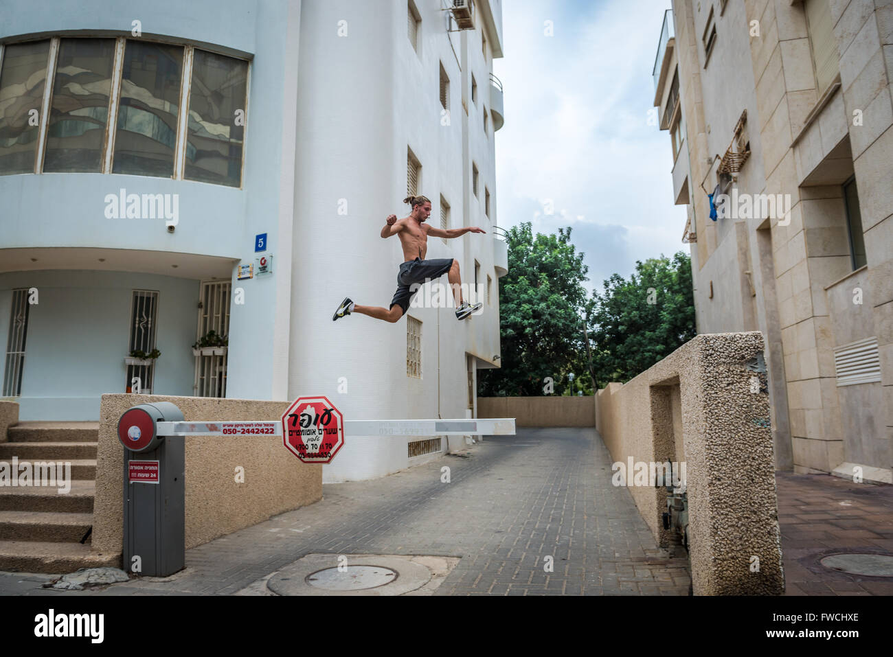 Parkour in Tel Aviv city, Israel - Stock Image