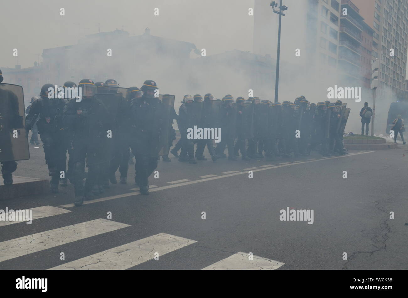 French riot police in action in Toulouse, south west of France, during a demonstration against a gouvernment new - Stock Image