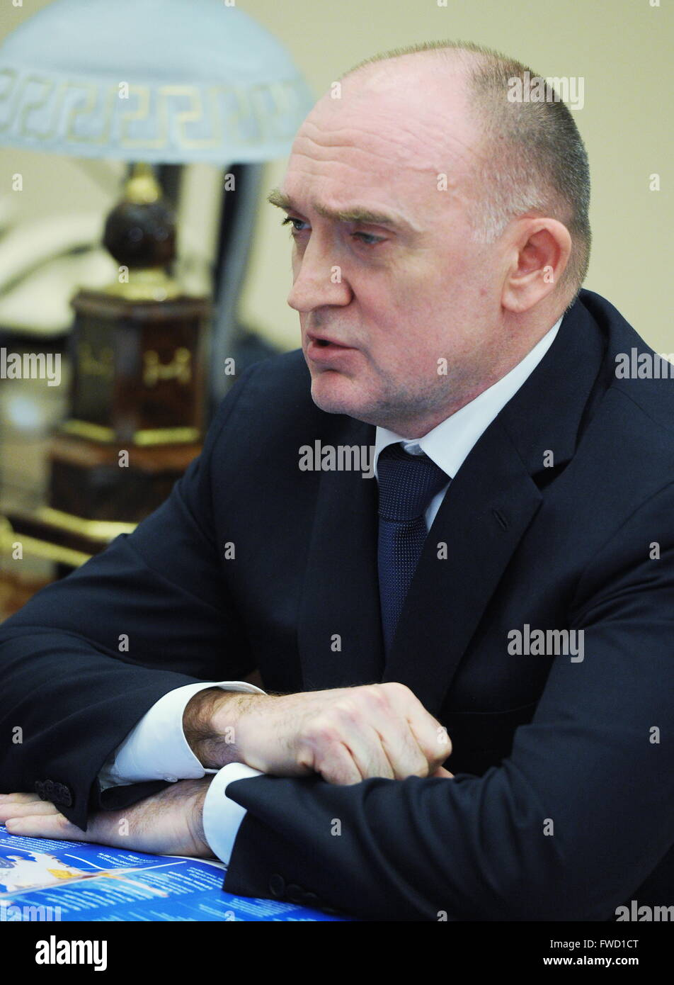 Moscow Region, Russia. 4th Apr, 2016. Chelyabinsk Region Governor Boris Dubrovsky looks on during a meeting with - Stock Image