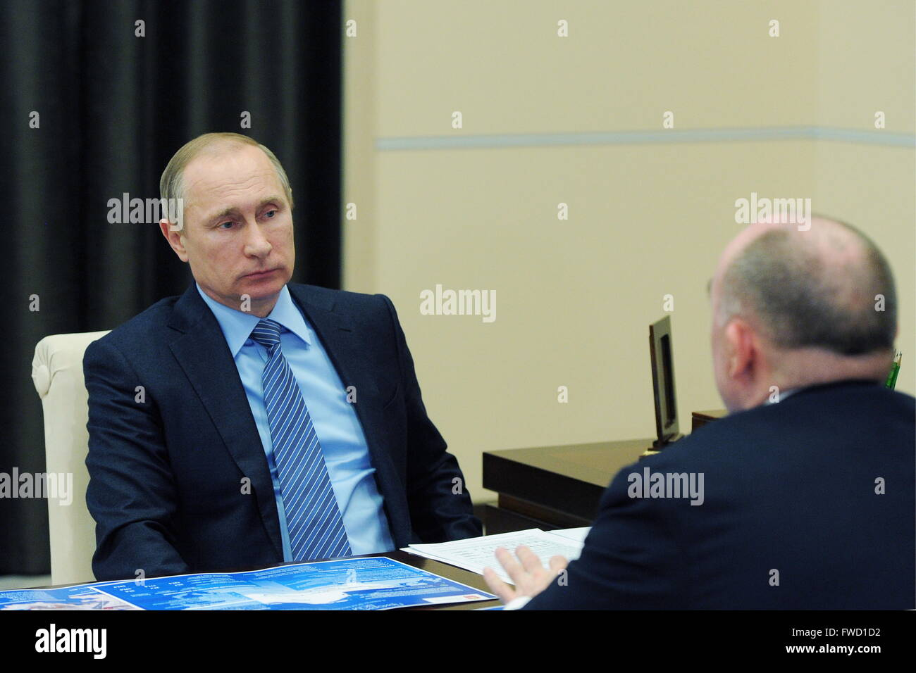 Moscow Region, Russia. 4th Apr, 2016. Russia's President Vladimir Putin (L) and Chelyabinsk Region Governor - Stock Image