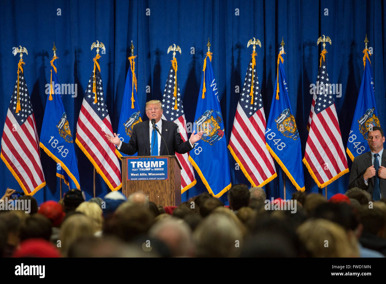 West Allis, Wisconsin USA - 3 April 2016 - Donald Trump campaigns for the Republican presidential nomination. Credit: - Stock Image