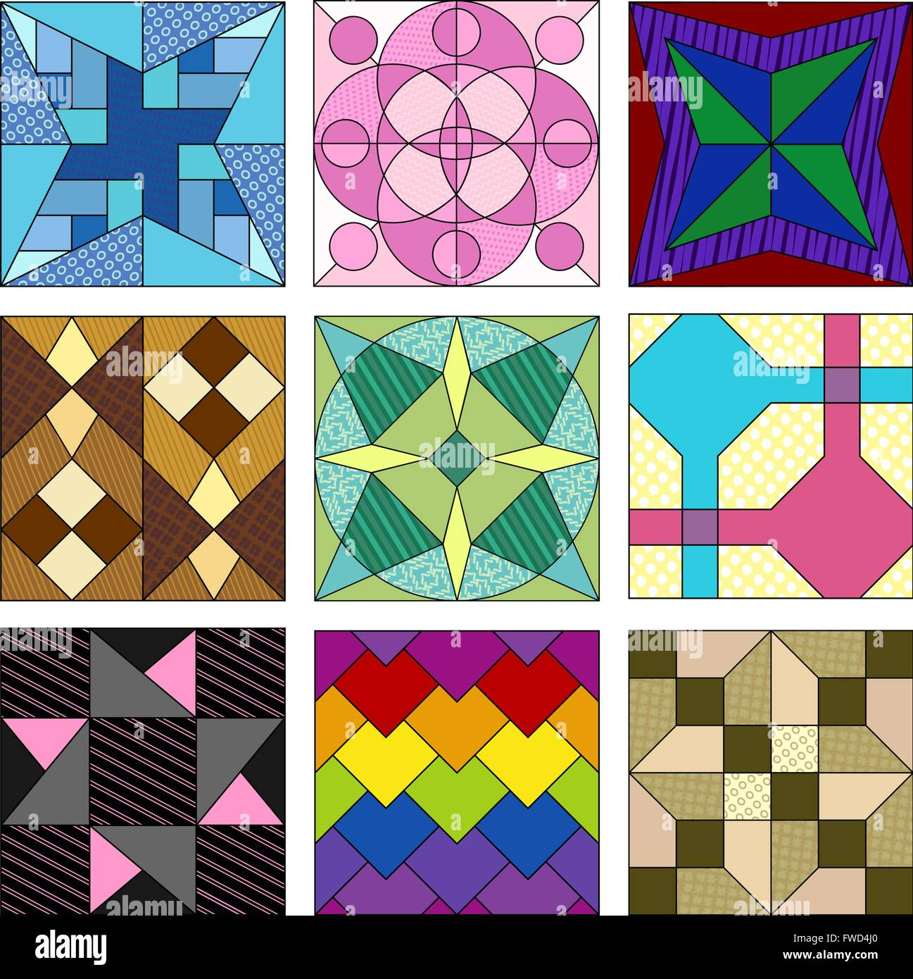 an assortment of quilting patterns some basic some advanced stock