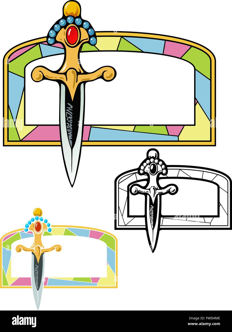 dagger and stained glass window - Stock Vector