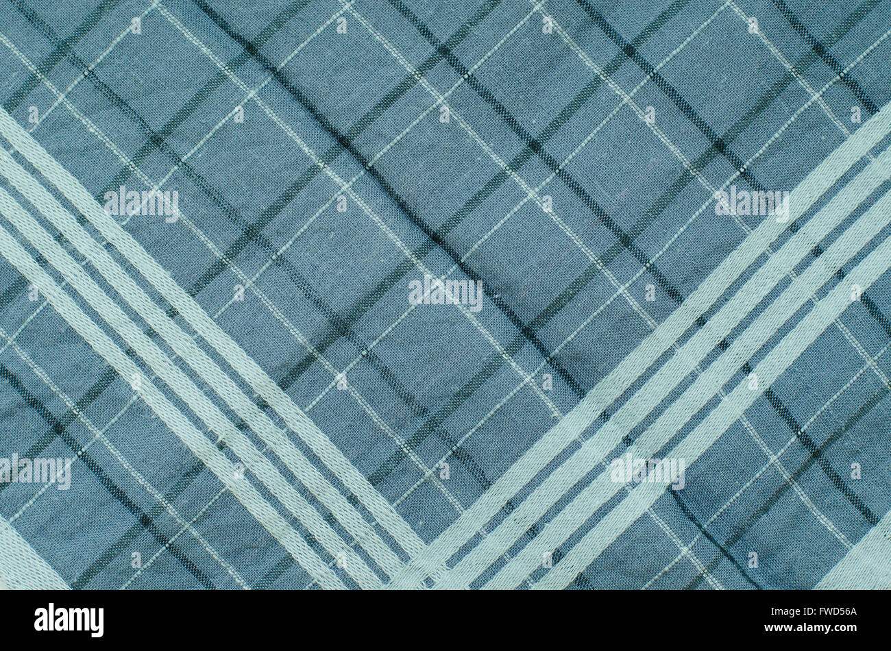Texture of Blue Gingham Fabric. - Stock Image