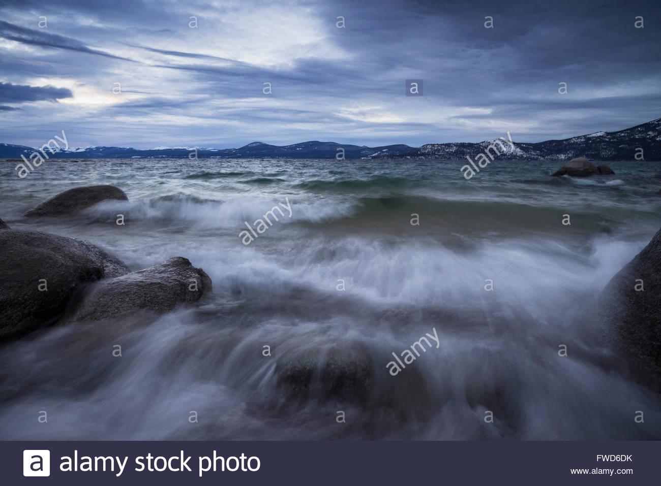 Gloomy Winter Evening at Sand Harbor, Lake Tahoe State Park, Nevada Stock Photo