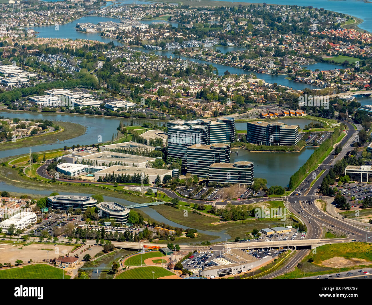 Oracle's headquarters in Redwood shores, Silicon Valley, California, United States of America, Santa Clara, - Stock Image