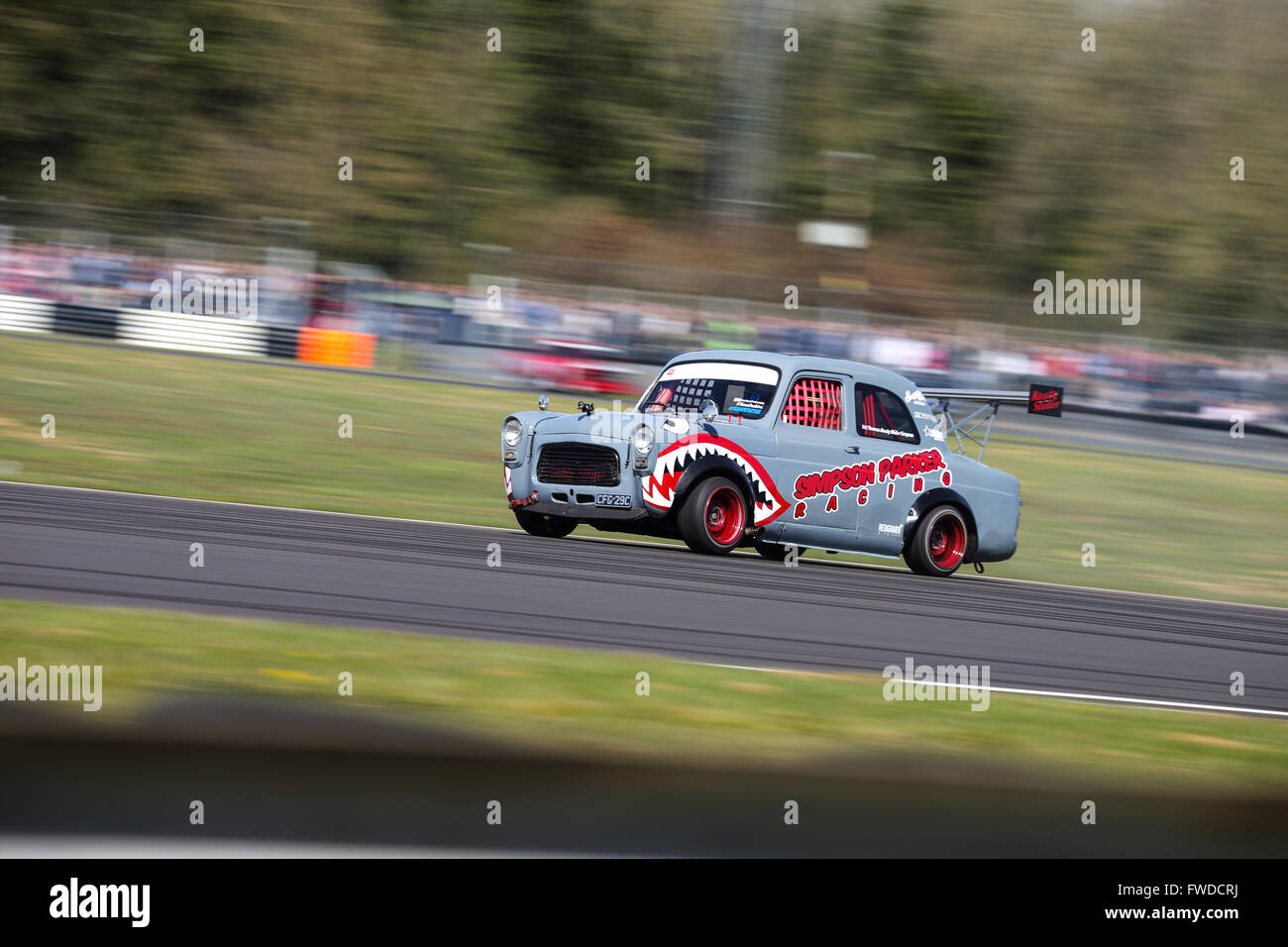 A drift car on track at Castle Combe Circuit - Stock Image