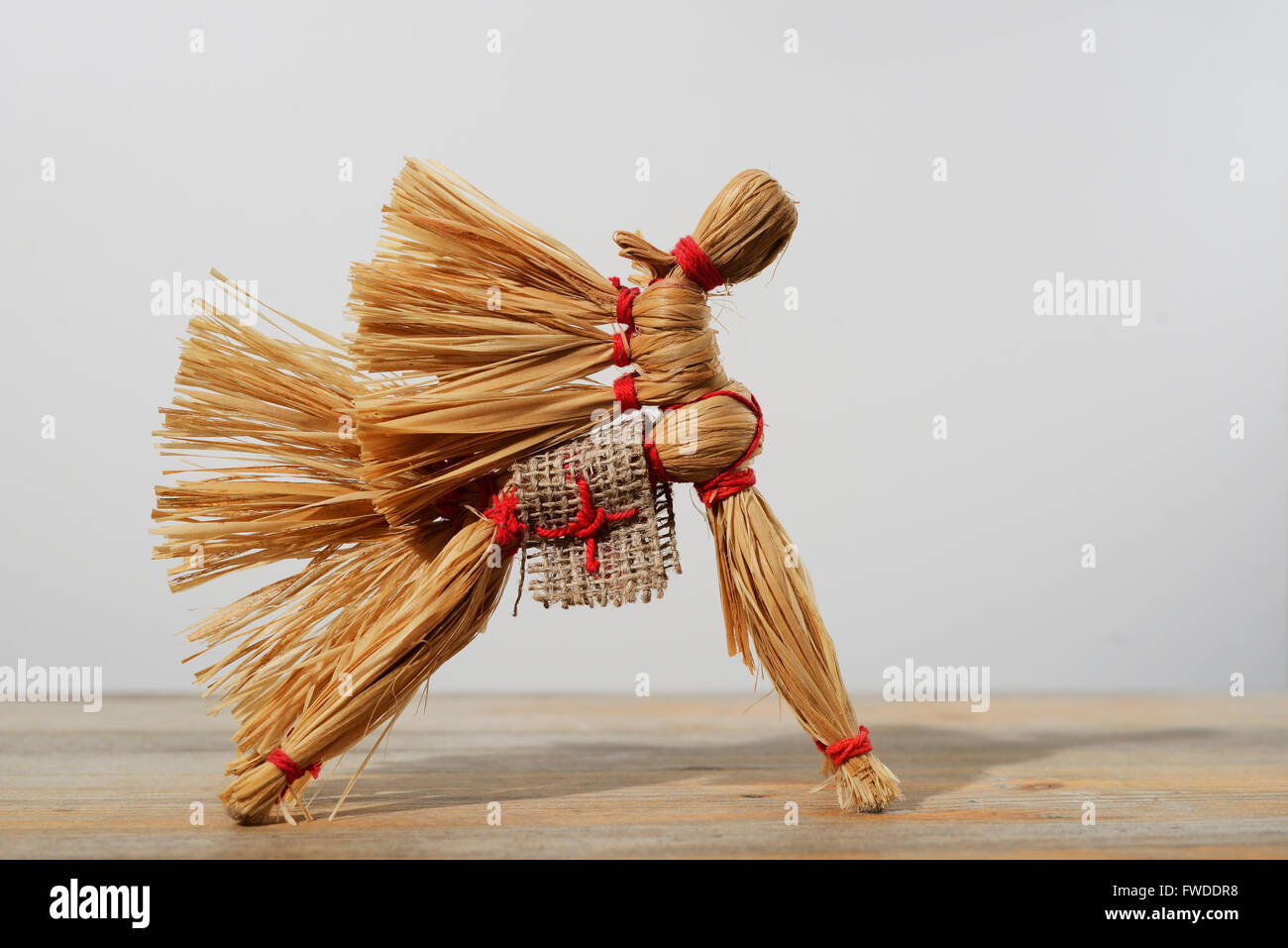 traditional Russian toy, horse of the bast on neutral background - Stock Image