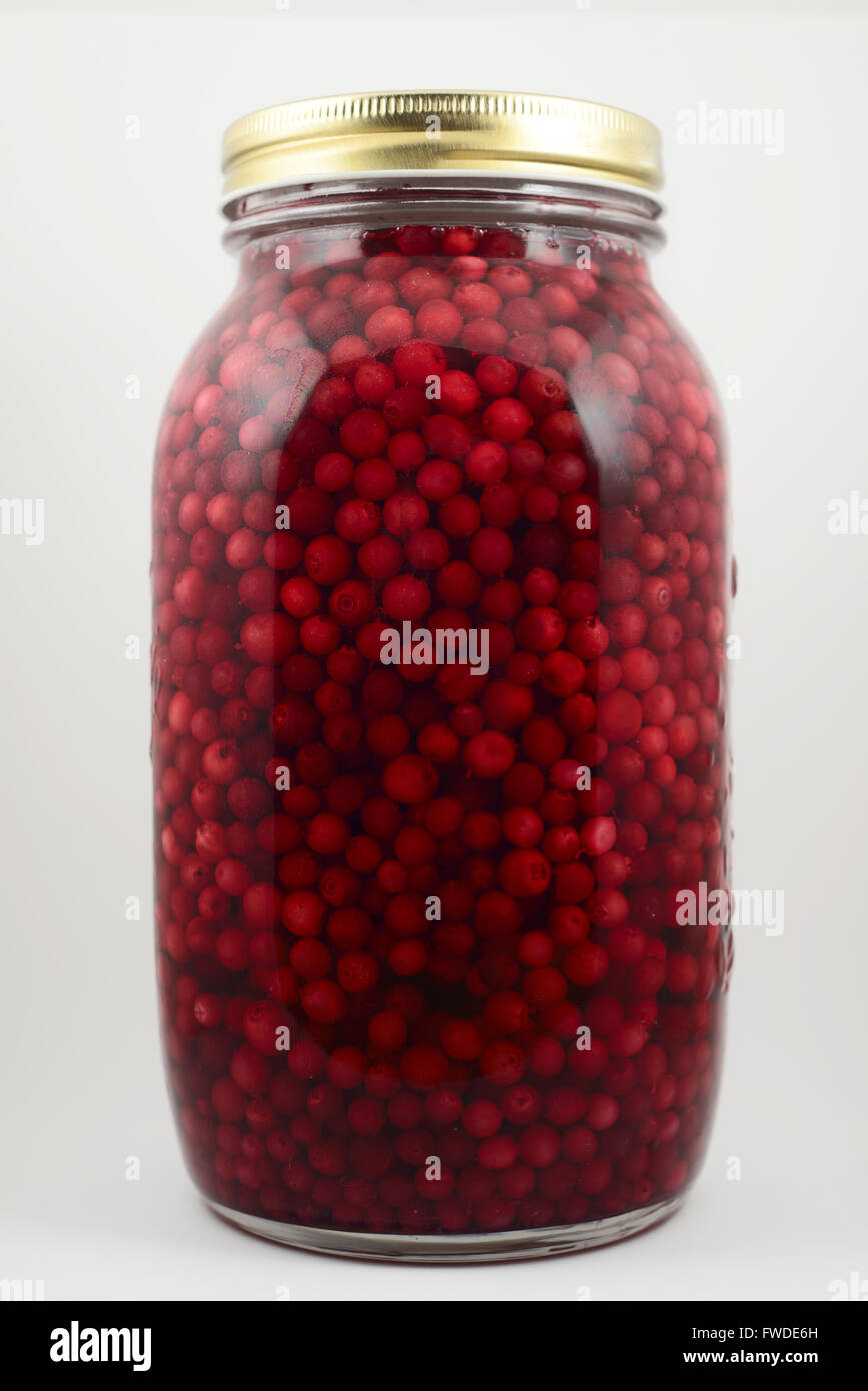 jar with soaked cranberries on a neutral background - Stock Image