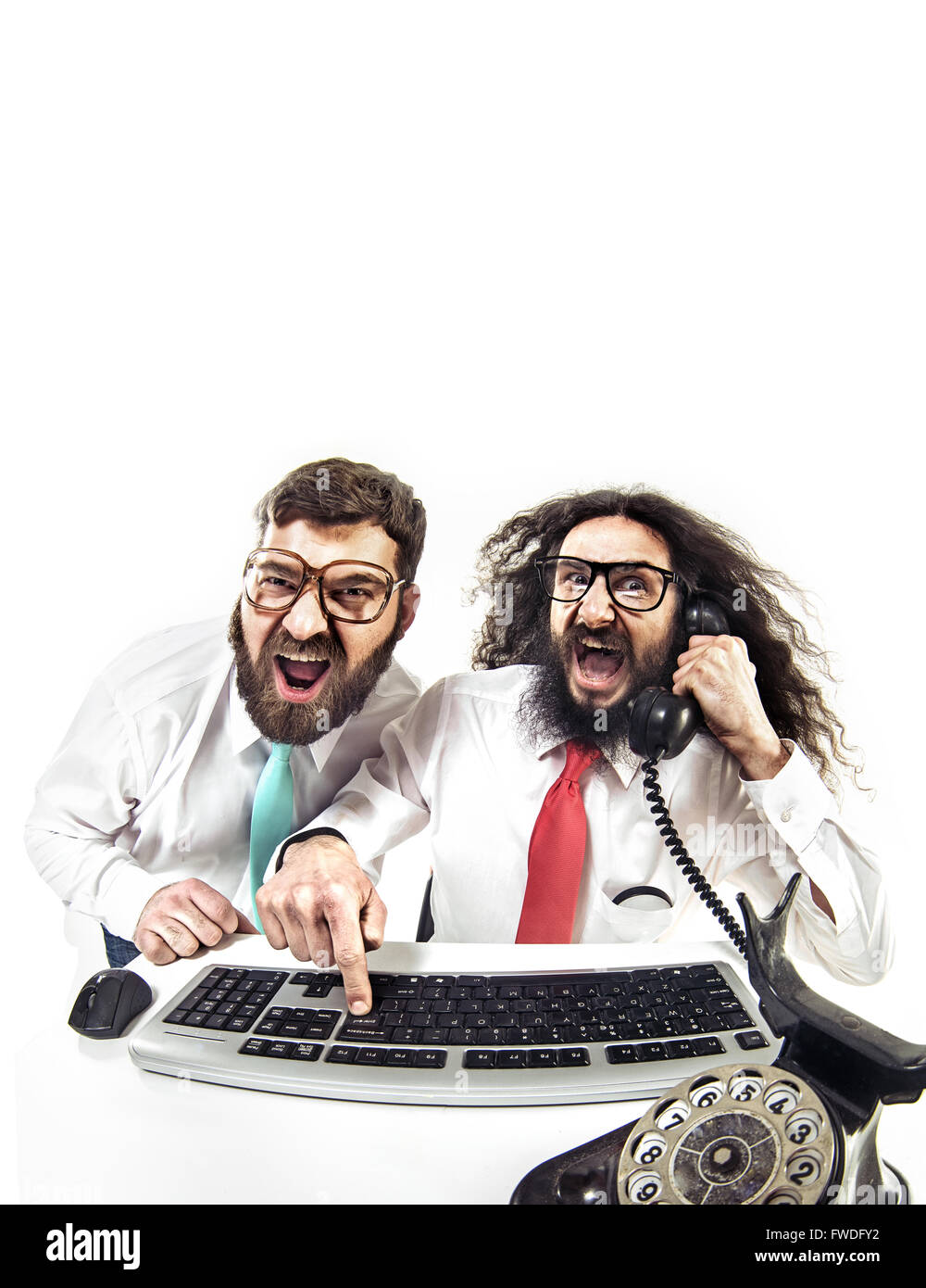 Two nerdy pals in the office - Stock Image