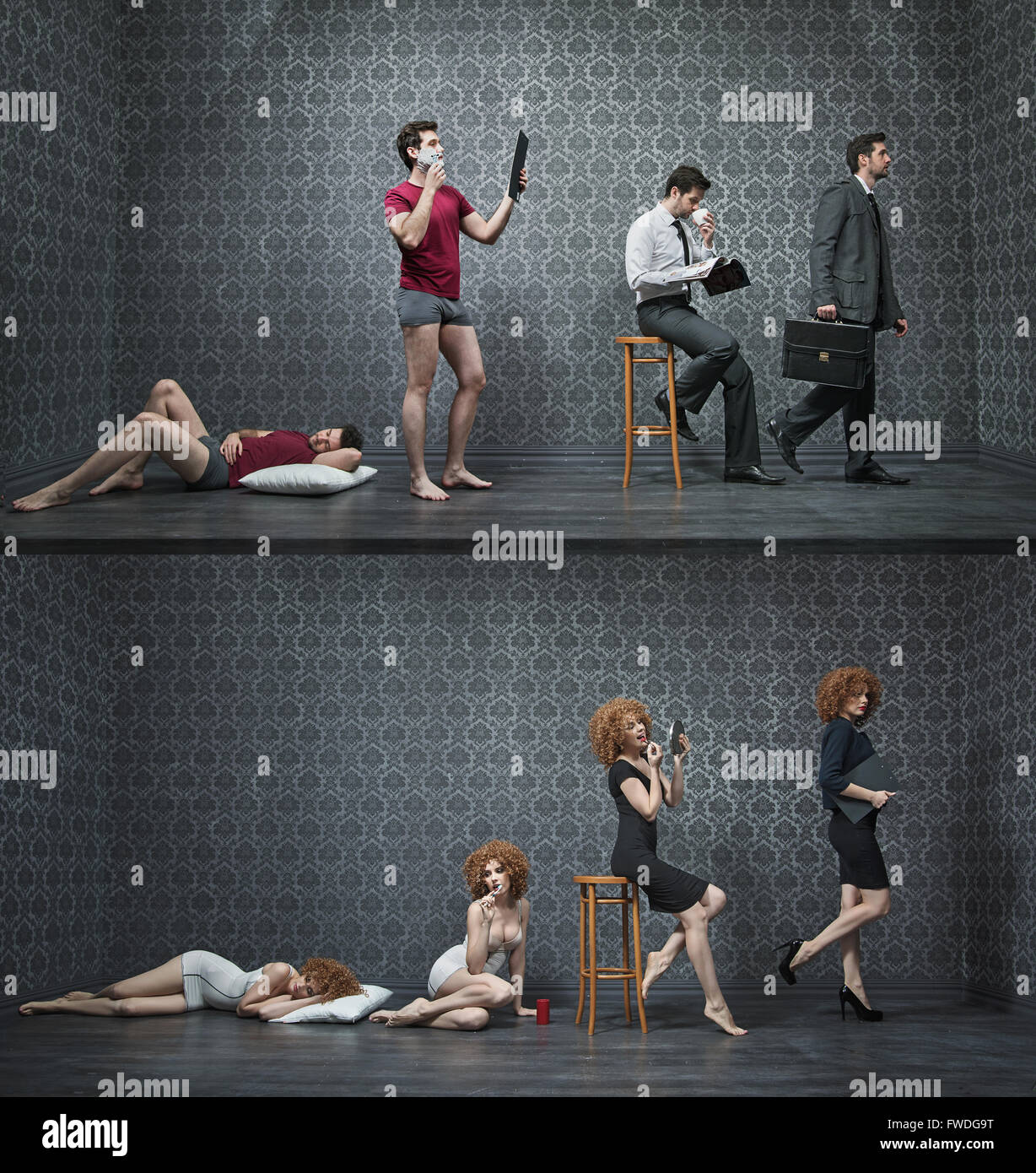 Photo collage of a typical morning of white collar employees - Stock Image