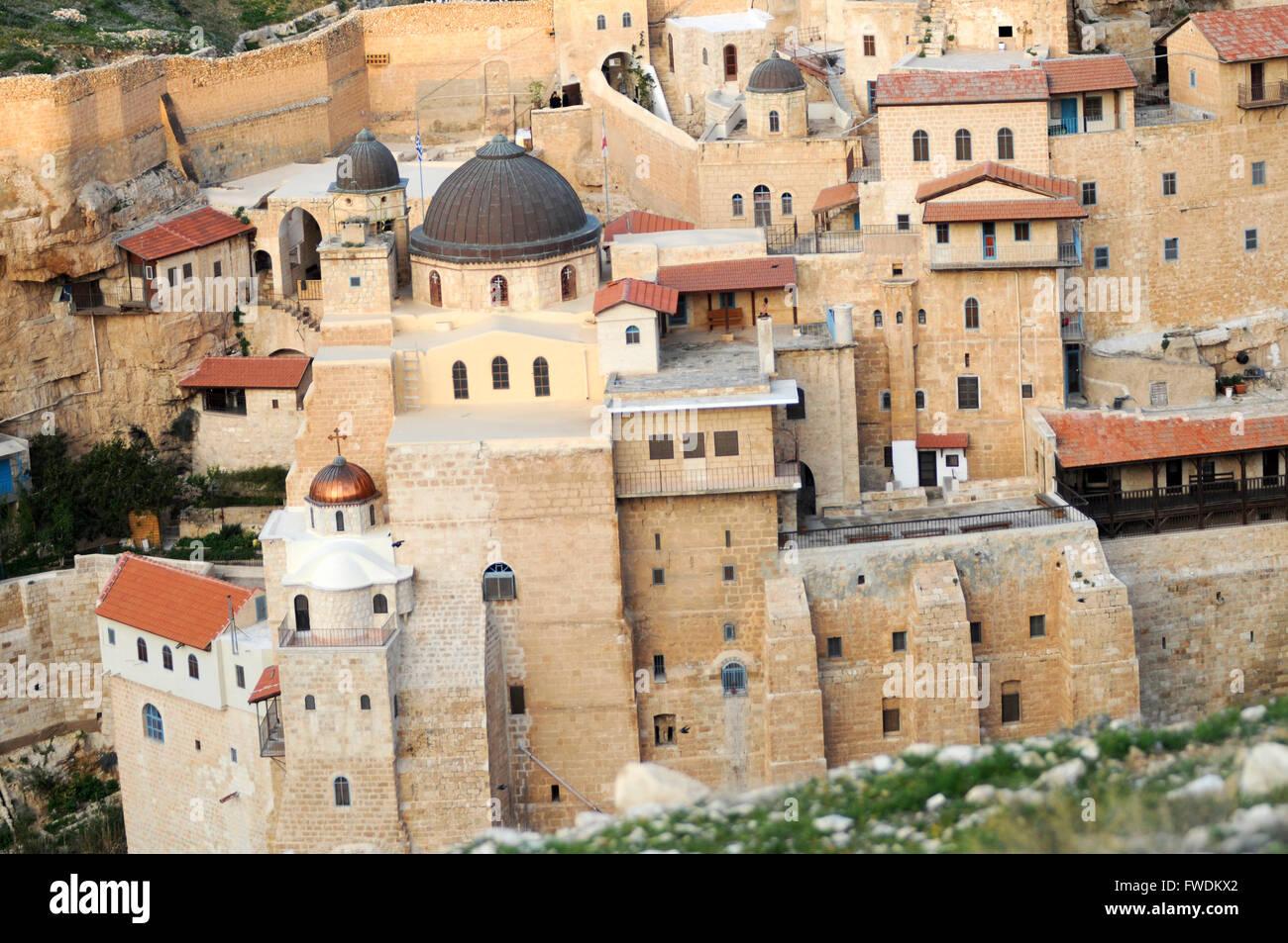 Israel, Judaea Dessert, Wadi Kidron, The Great Lavra of St. Sabas (also Mar Saba) is a Greek Orthodox monastery - Stock Image