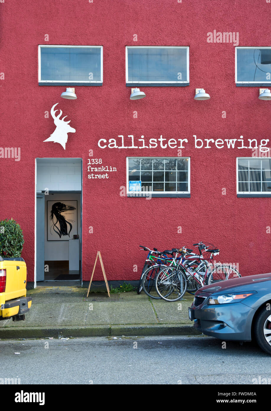 Callister Brewing Company building on Franklin Street in East Vancouver, BC, Canada. Local craft brewery. - Stock Image