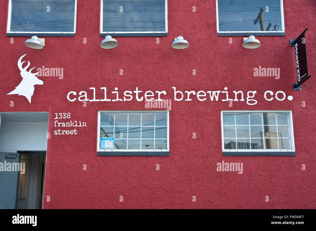 Callister Brewing Company building on Franklin Street in East Vancouver, BC, Canada. Local craft brewery. Craft - Stock Image