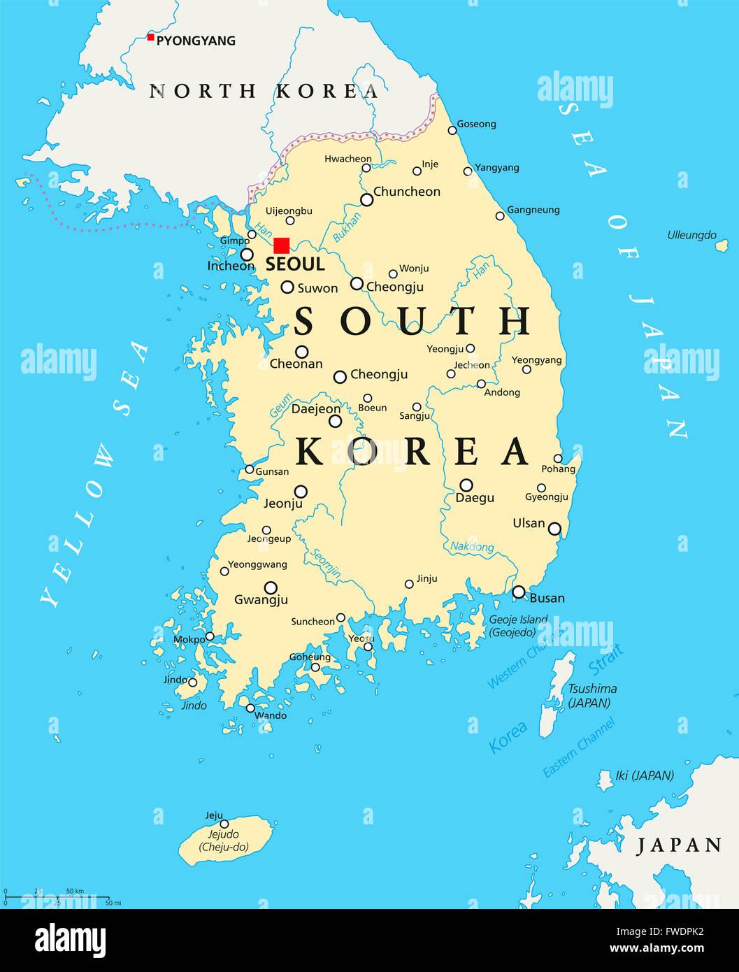 South Korea political map with capital Seoul, national borders