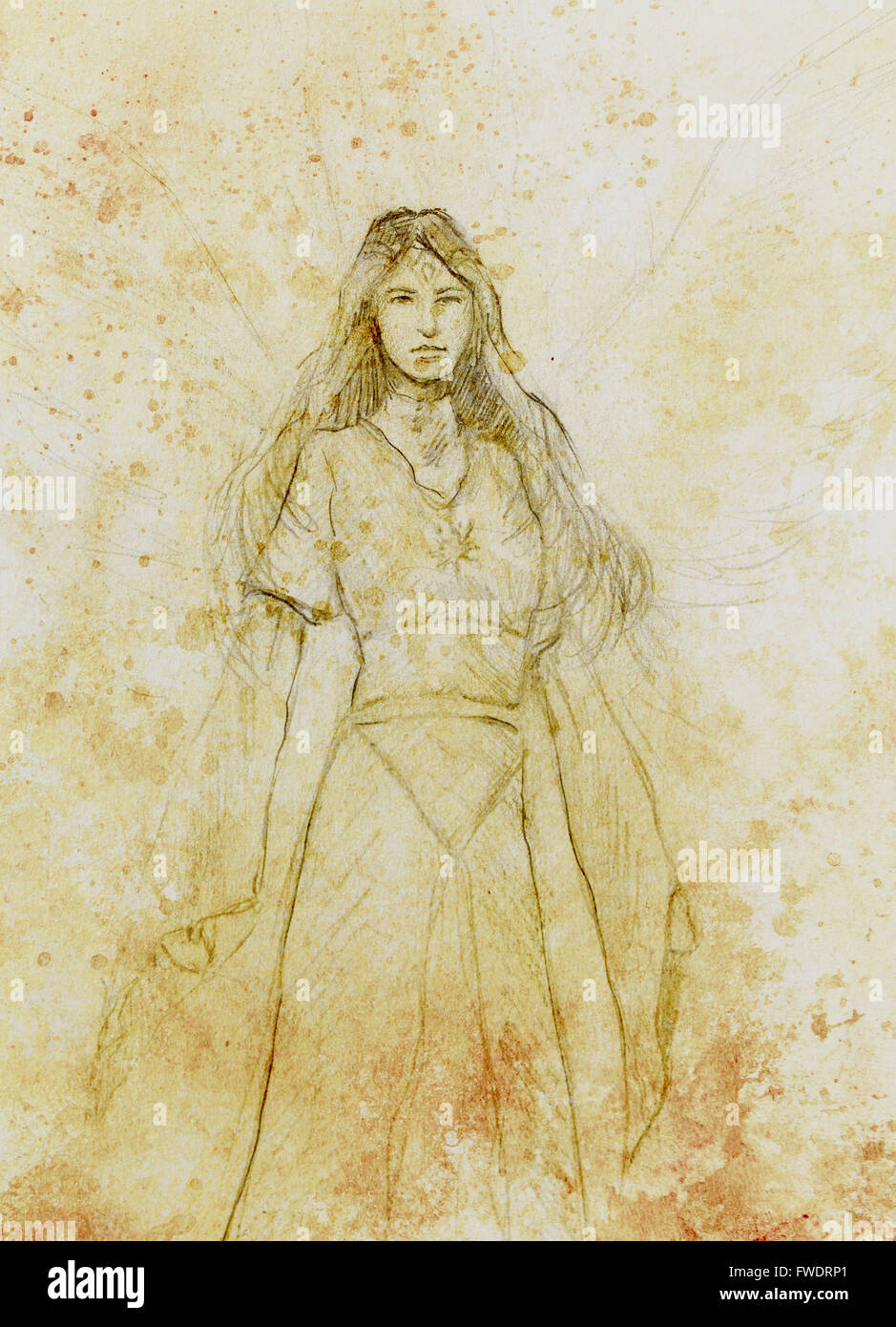 Drawing of mystical angel woman in beautiful historic dress stock image