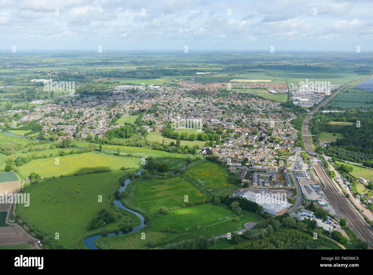 An aerial view of Sandy in Bedfordshire Stock Photo - Alamy