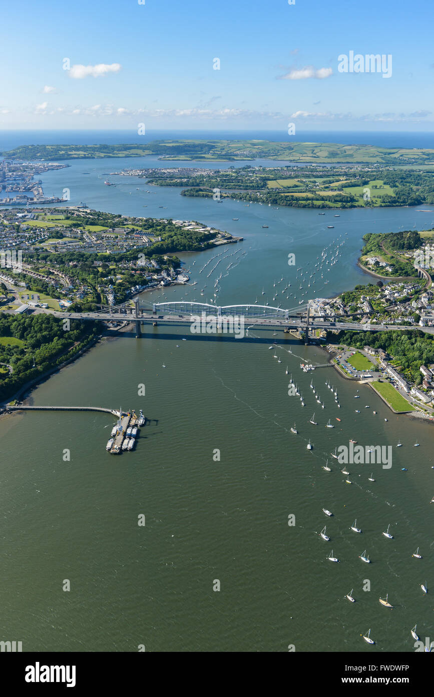 An aerial view of the Tamar Estuary with the road and railway bridges visible Stock Photo
