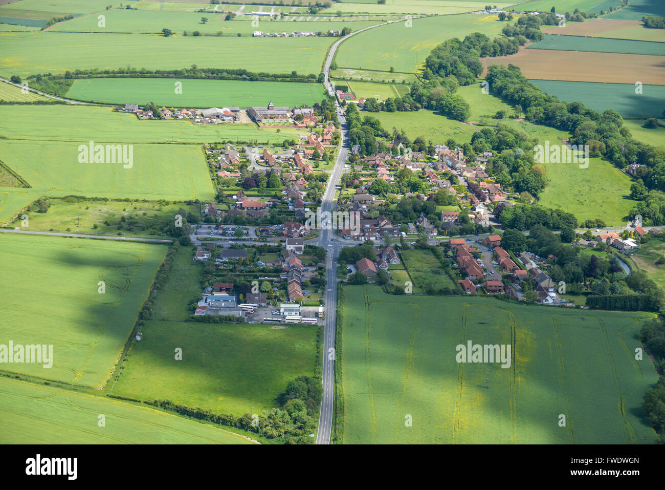 An aerial view of the Nottinghamshire village of Oldcotes - Stock Image
