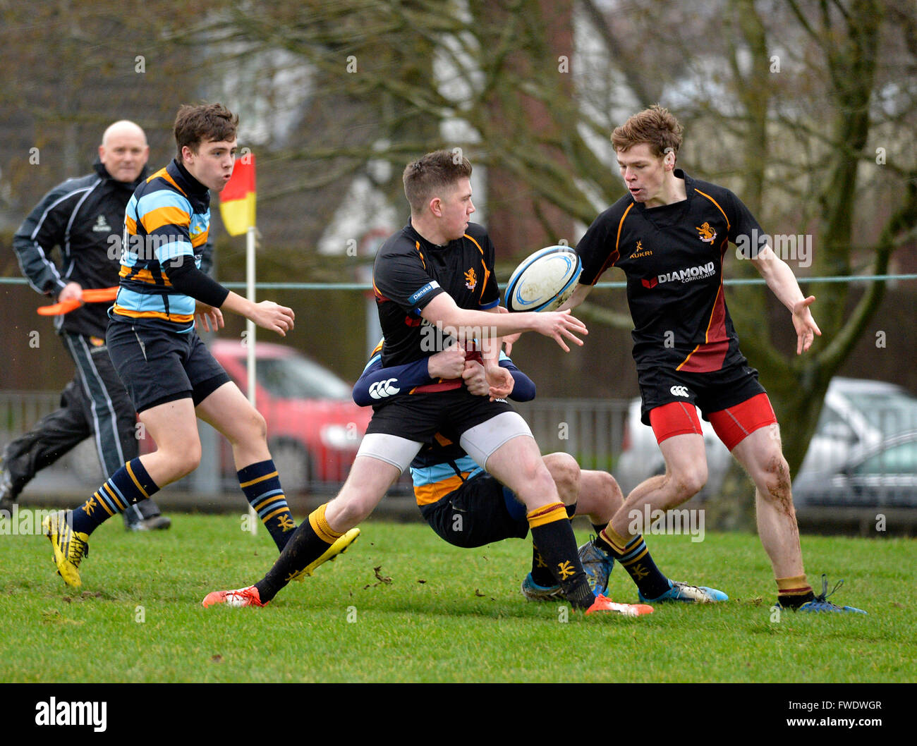 Northern Ireland schools rugby game between Foyle College and Antrim Grammar played in Londonderry, Northern Ireland - Stock Image