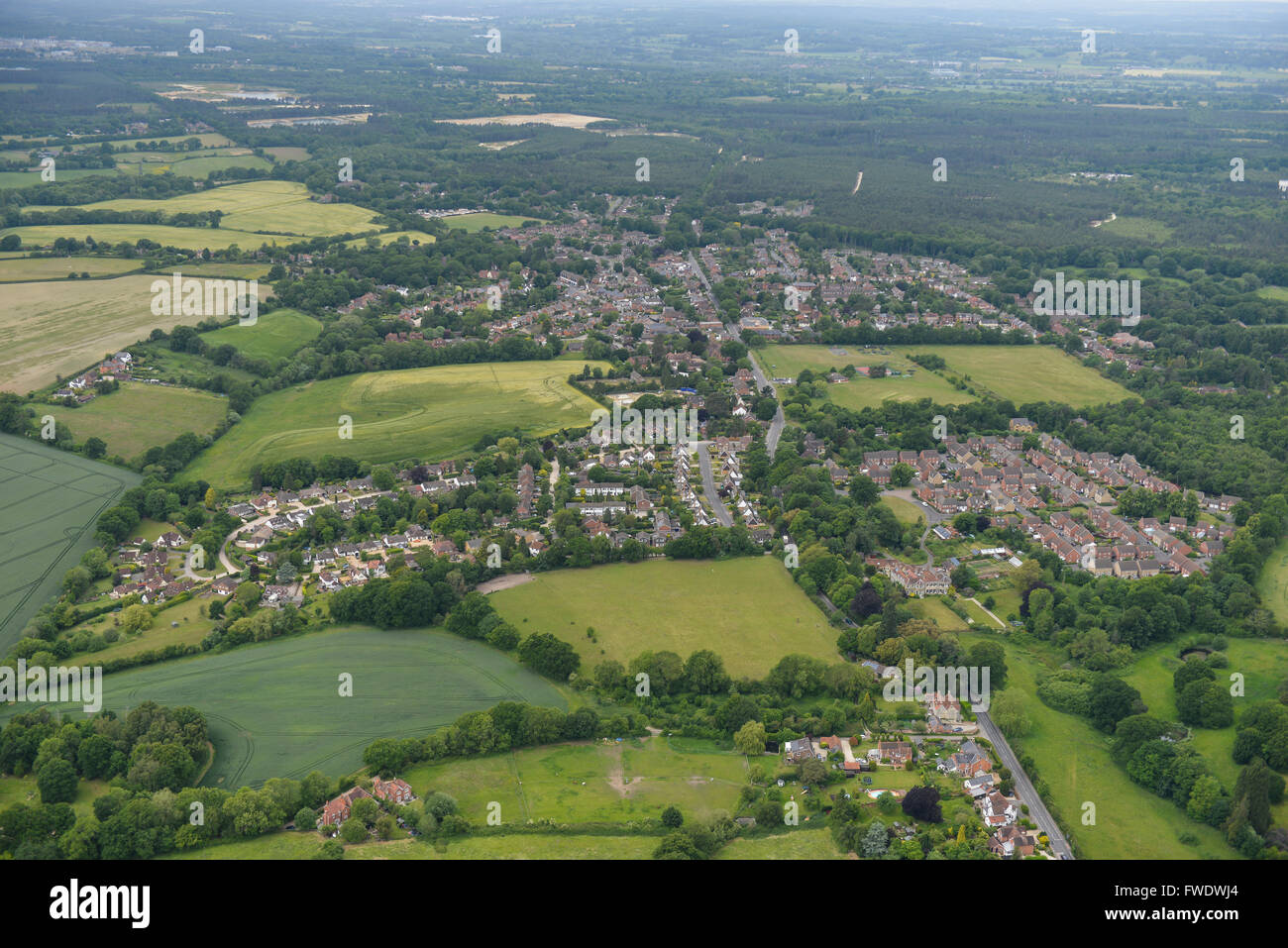 An aerial view of the Berkshire town of Mortimer Common - Stock Image