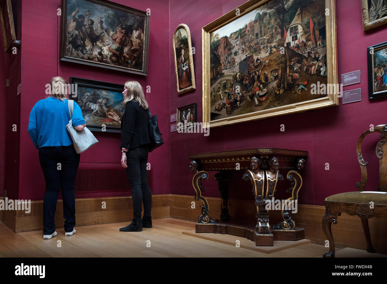Fitzwilliam Museum and Art Gallery, Cambridge, England UK. April 2016 Paintings by Rubens on left and A Village - Stock Image