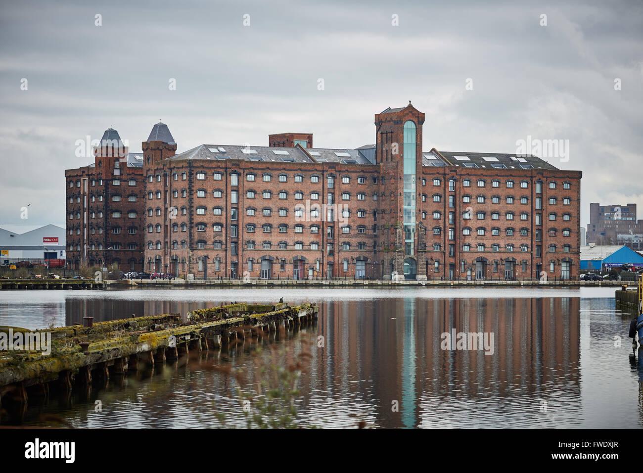 West Float Merseyside Liverpool docks birkenhead   from Duke Street bridge warehouse basin large brick built Corn - Stock Image