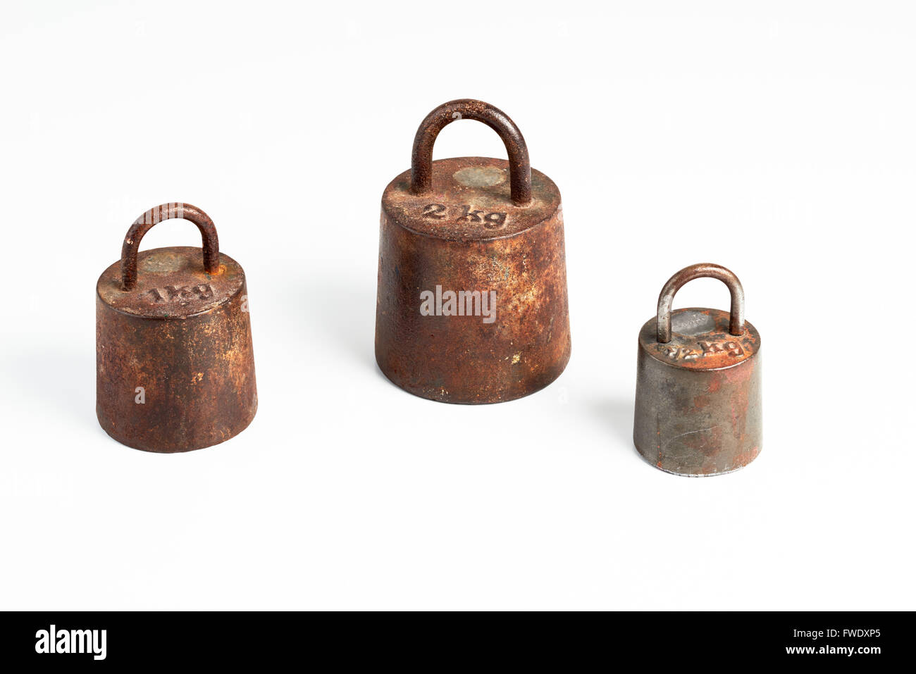 Old iron metric weights - Stock Image