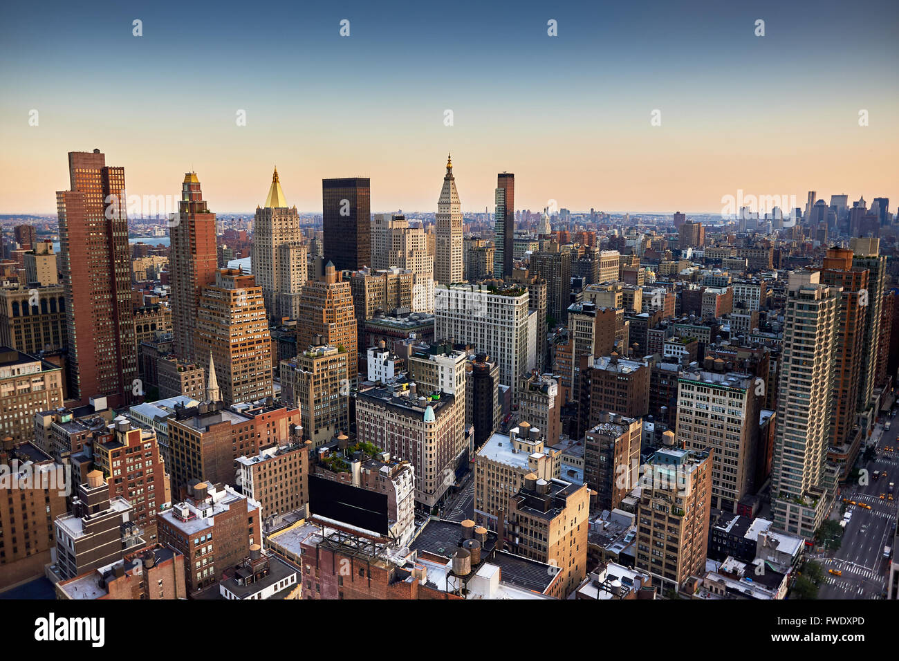 Evening view from a high building of Midtown, New York City Stock Photo