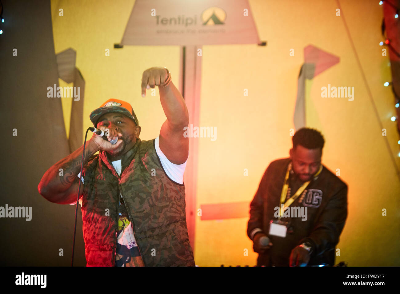 Just Fest justfest 2016 at Manchester University Blak Twang and Silvastone on the deck on the main stage   Celebrity - Stock Image