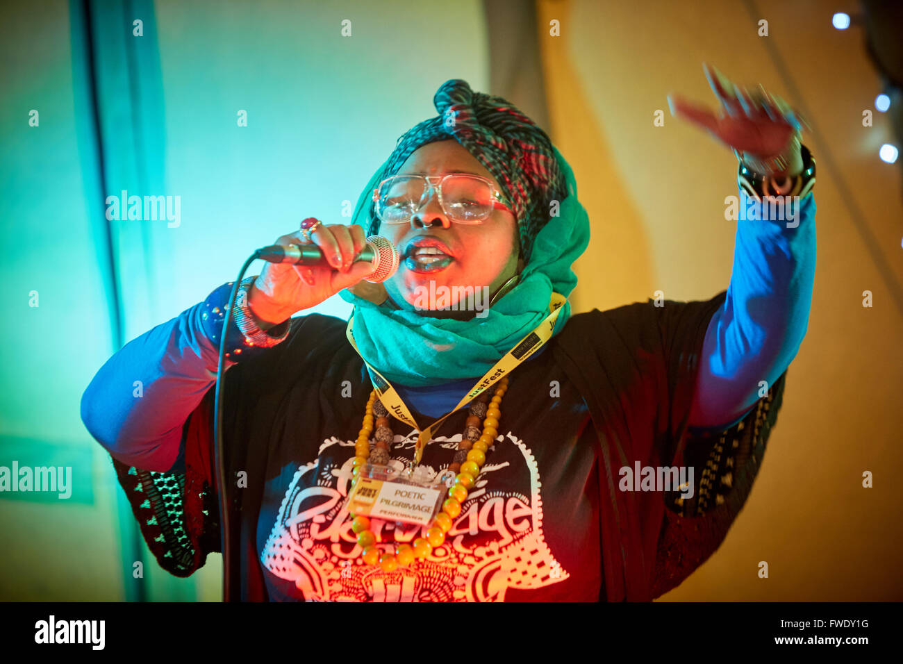 Poetic Pilgrimage performing on stage - Stock Image