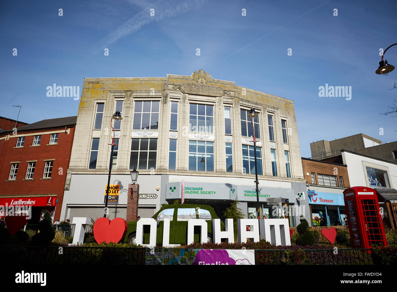 Oldham town centre Yorkshire Street   Tudor black white architecture i love heart oldham luv sign letters big - Stock Image