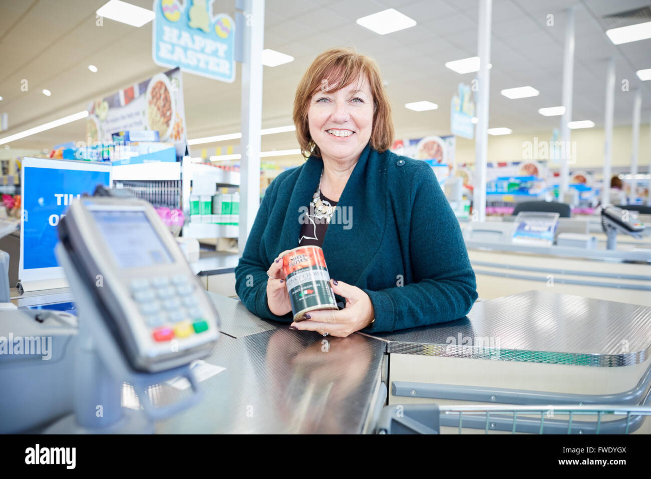 Karen Woodward from the National Apprenticeship Service NAS visits Aldi Poynton  Karen leads on the implementation - Stock Image