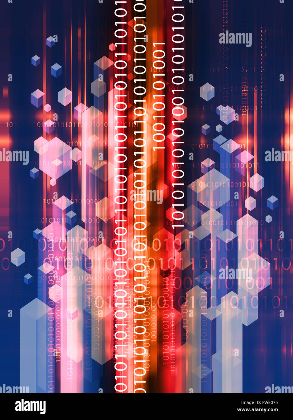 Binary code technology abstract background - Stock Image