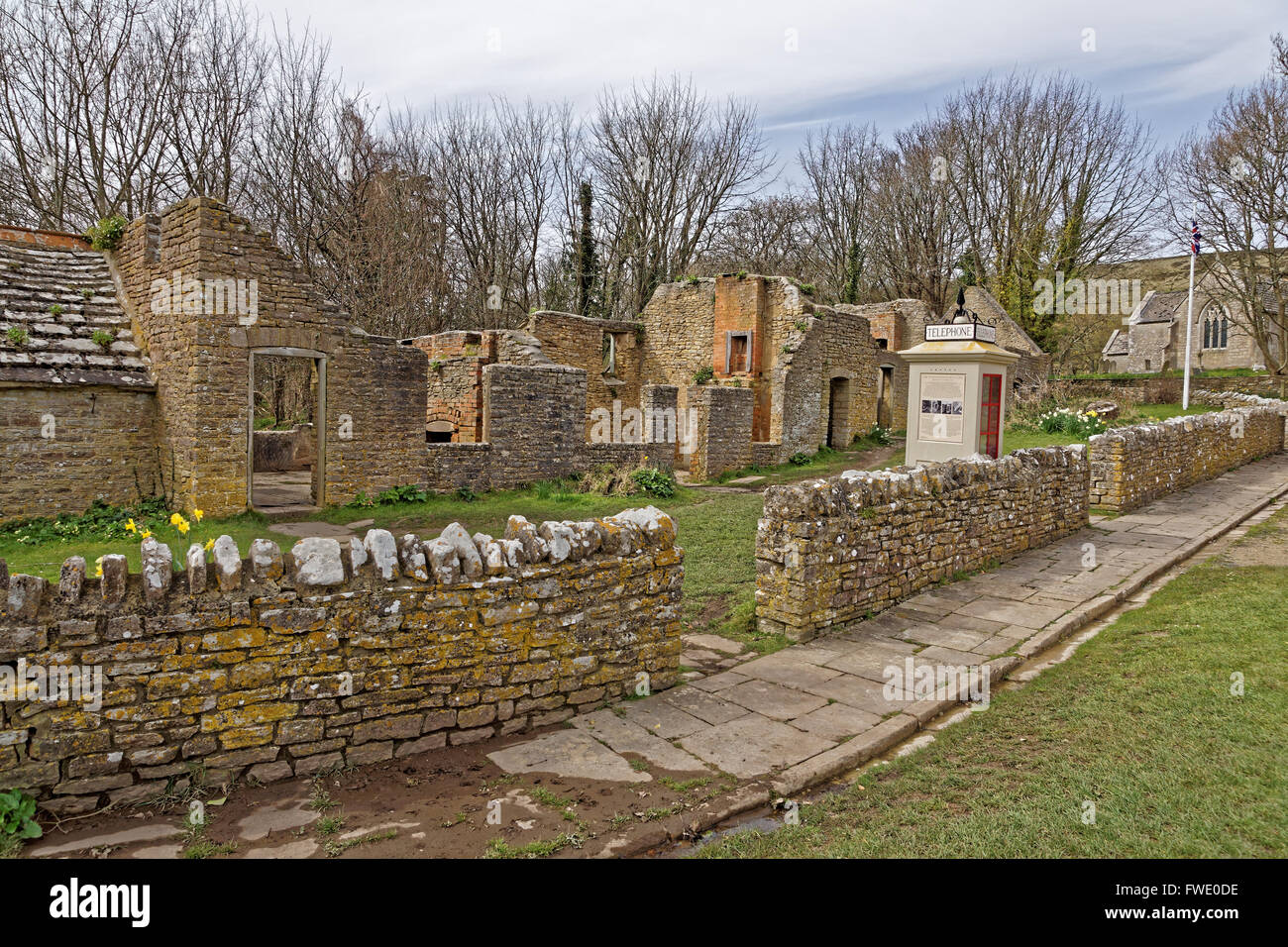 dilapidated houses in Tyneham village - Stock Image