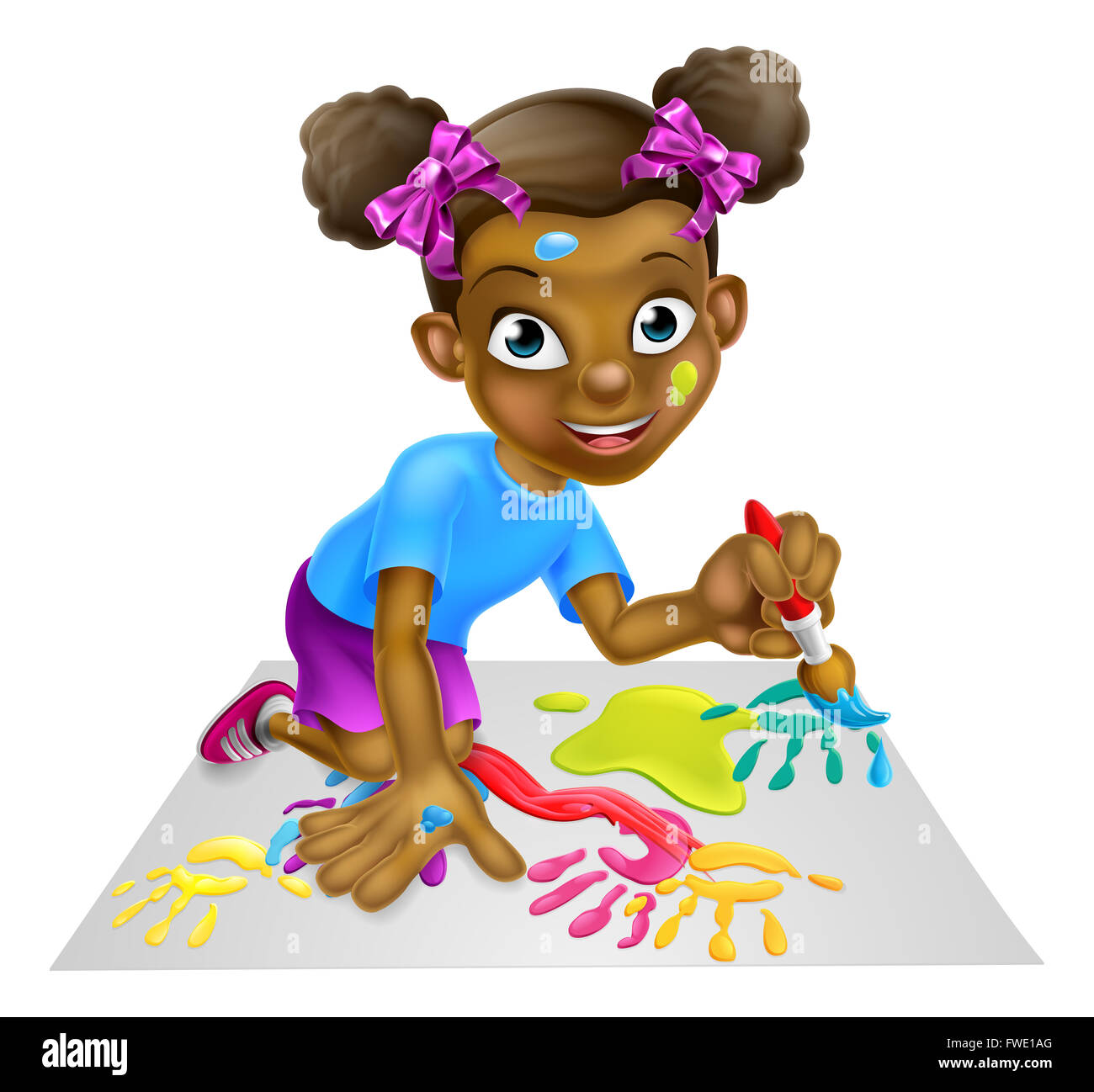Cartoon Little Black Girl Painting A Picture Or Having Fun With
