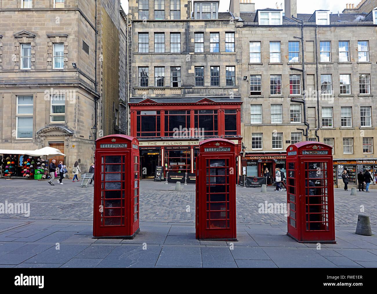 Telephone boxes.Royal mile.Edinburgh.Scotland.UK Stock Photo