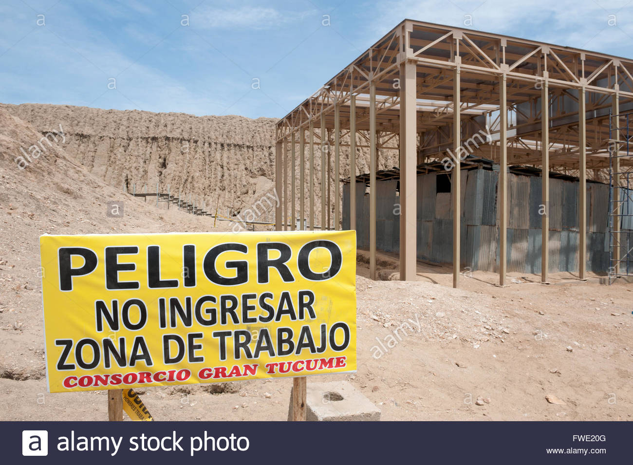 Tucume Peru Valle de los Piramides, Valley of the pyramids. No public entry at archaelogical dig site. - Stock Image