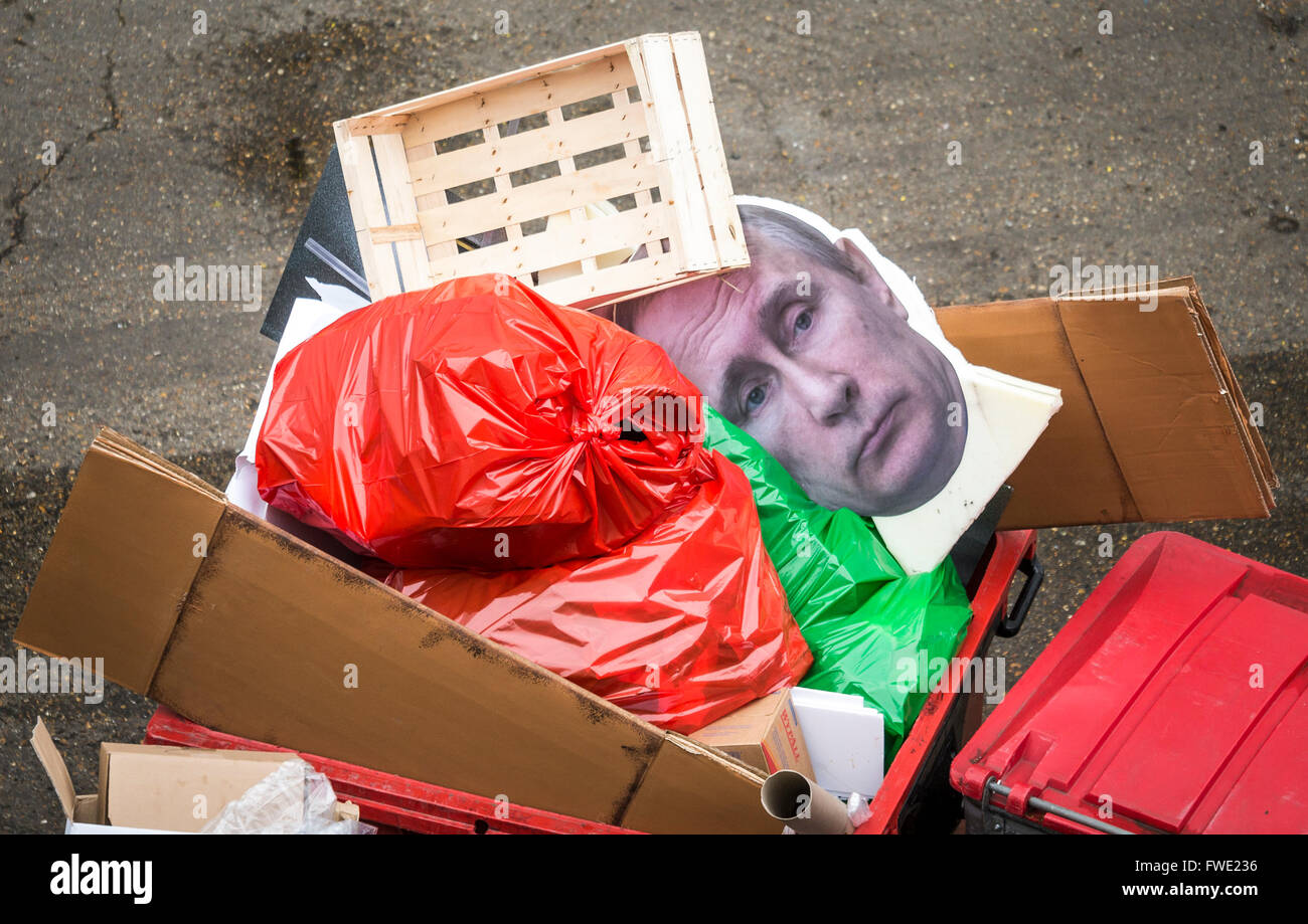 Cardboard cut out of Russian president Vladimir Putin thrown out in a rubbish bin, London, Britain. - Stock Image