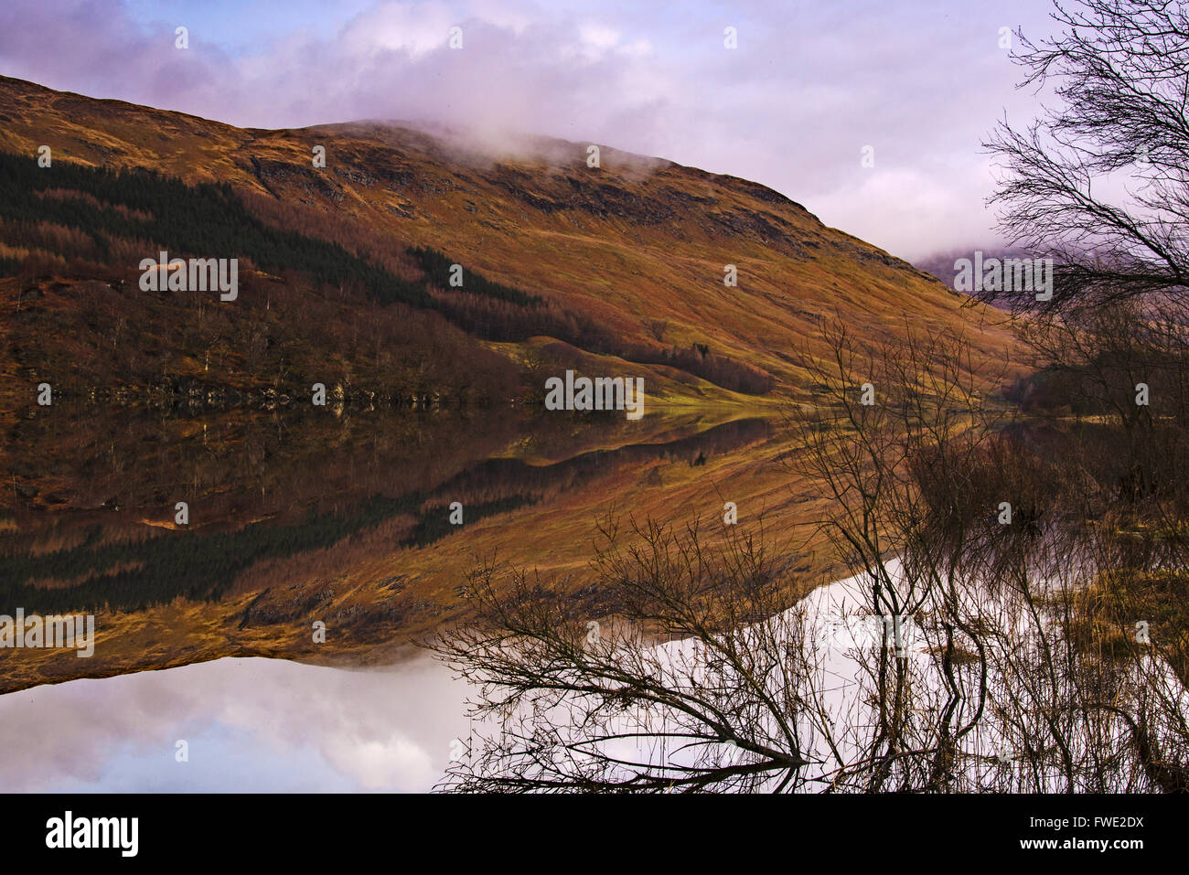 Water reflections in Scottish Highlands - Stock Image