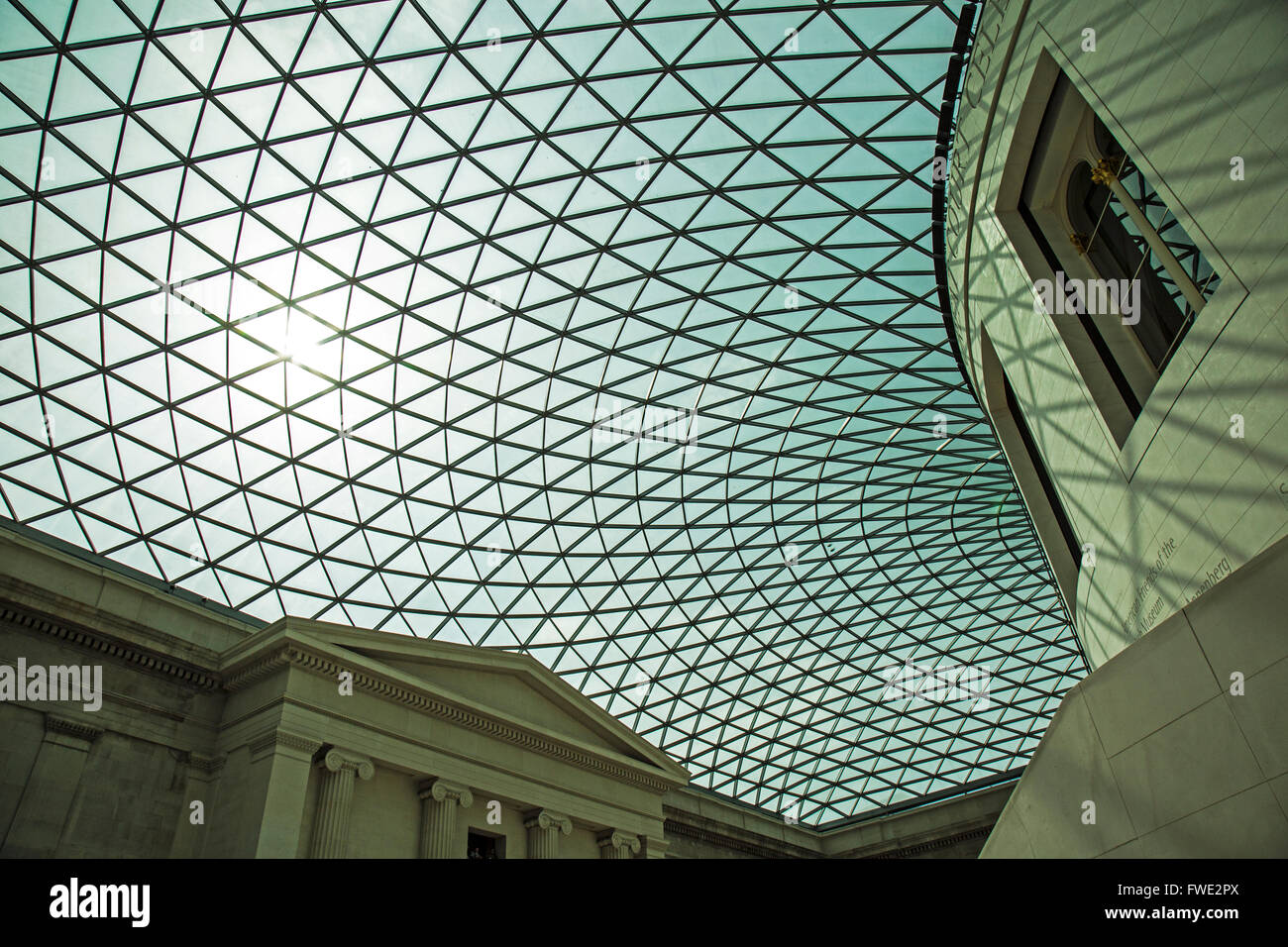 The ceiling of the Great Court in The British Museum in London. - Stock Image