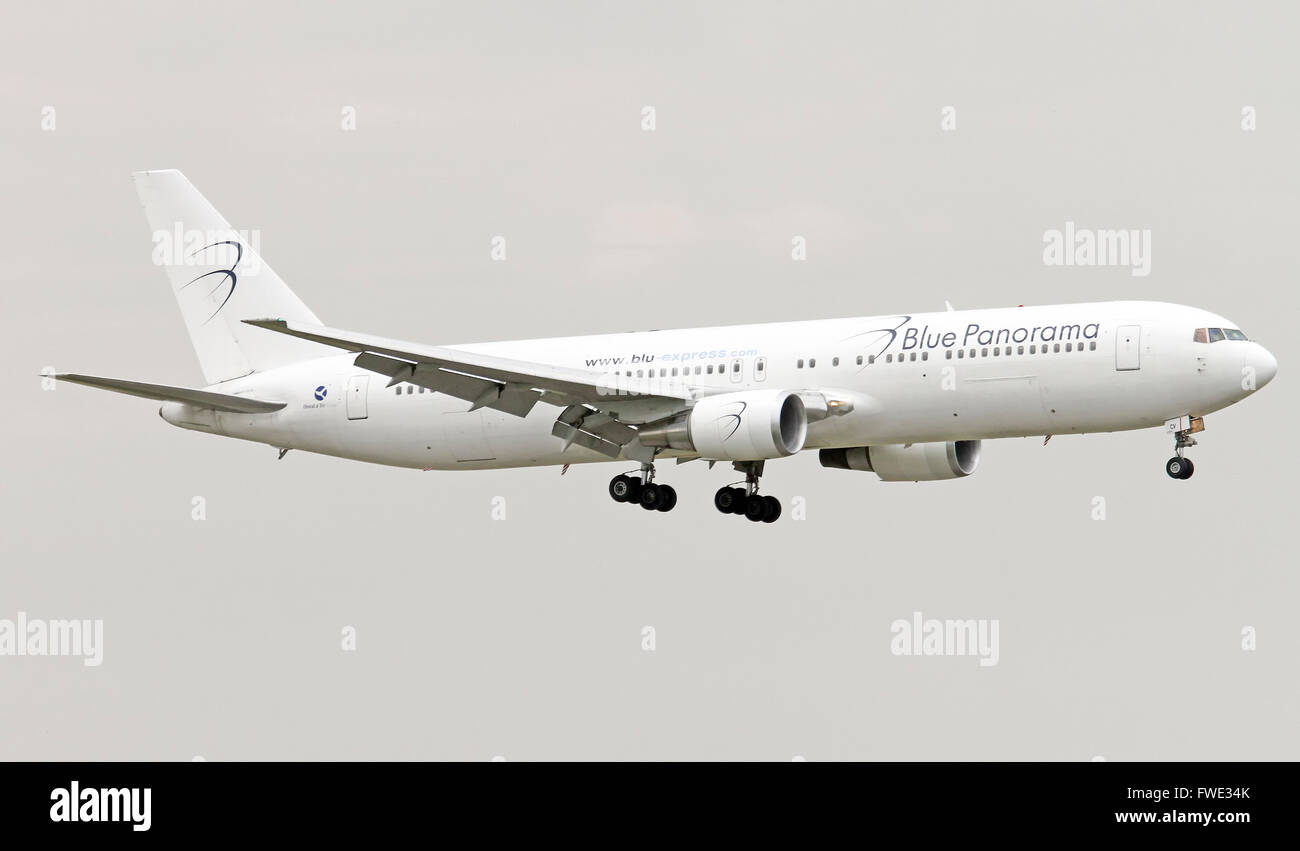 Blue Panorama Airlines Boeing 767-3X2(ER). Photographed at Linate airport, Milan, Italy - Stock Image