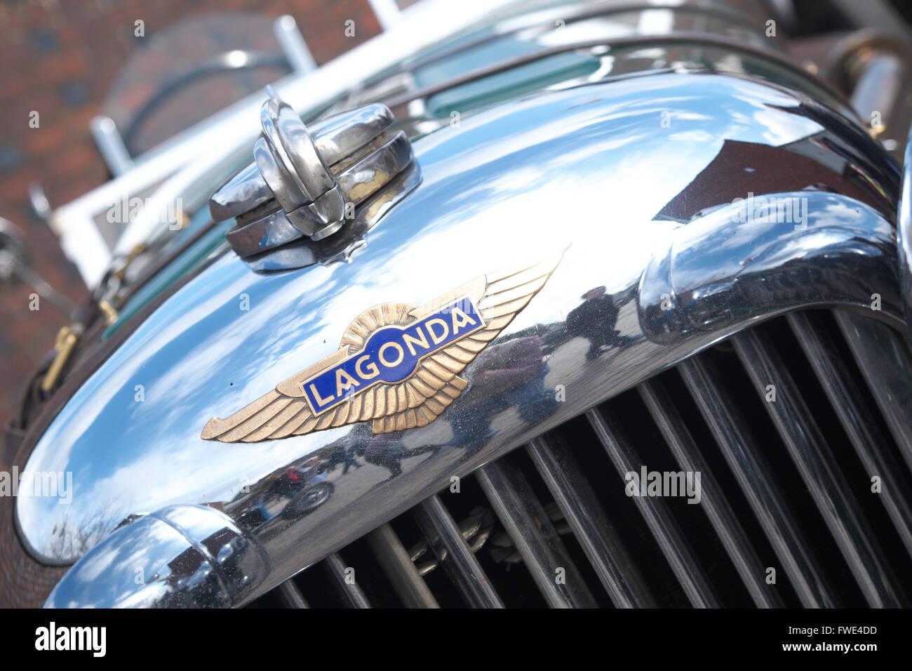 Lagonda vintage classic car brand logo and radiator - Stock Image