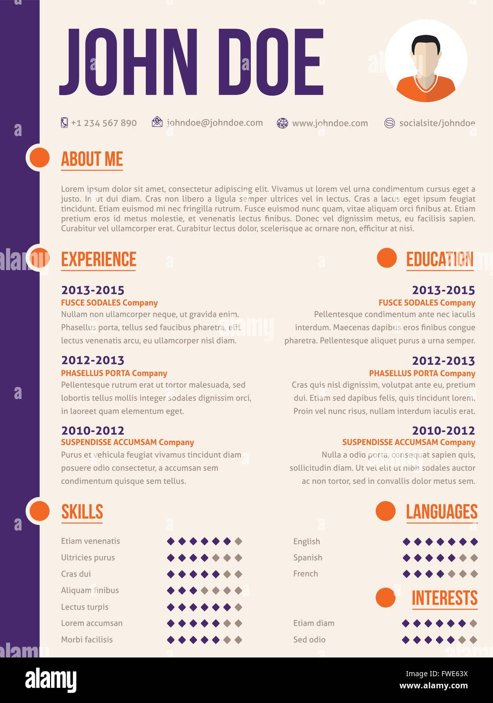 simplistic yet colorful modern resume cv curriculum vitae template