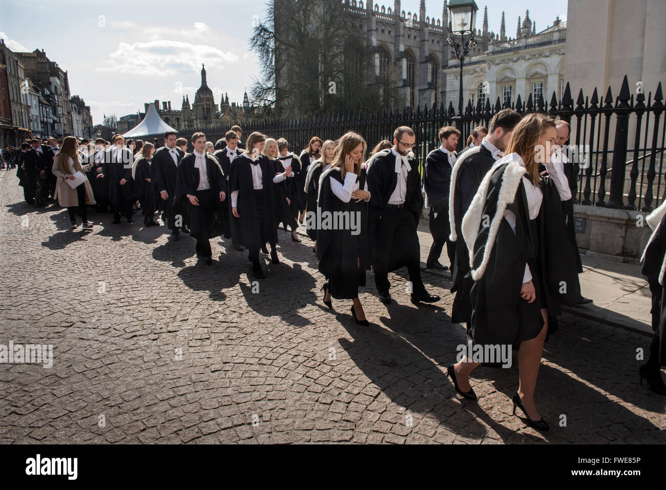 Cambridge University Degree Ceremony at the Senate House, Cambridge,England,UK. 2 April 2016Graduates line up outside - Stock Image