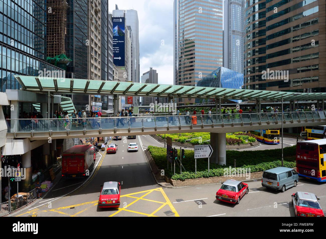 Pedestrian bridge, Central, Hongkong Island, China - Stock Image