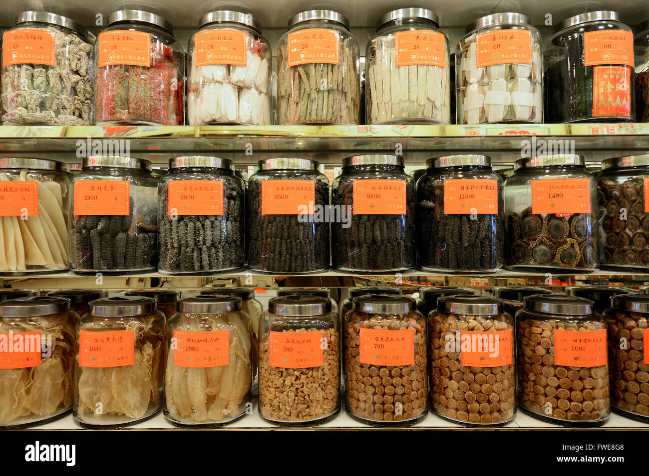 Chinese pharmacy, dried seefood, traditional Chinese medicine, Kowloon, Hongkong, China - Stock Image