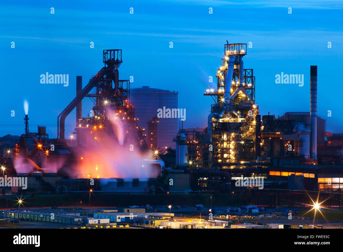 Blast Furnaces, Corus Steelworks, Port Talbot, Wales, U.K. - Stock Image